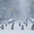 Winter storm Juno falls on Washington Square Park.