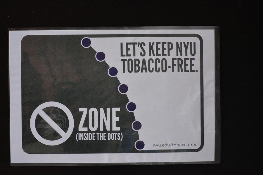 As+part+of+the+SSC%27s+tobacco-free+initiative+purple+dots+have+been+painted+outside+of+Weinstein+and+Bobst.