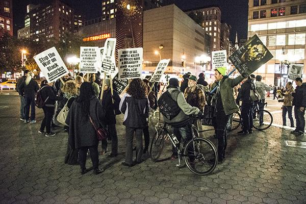 People gathered in Union Square on Monday for one of the #BlackLivesMatter rallies that have been occurring regularly throughout the year.