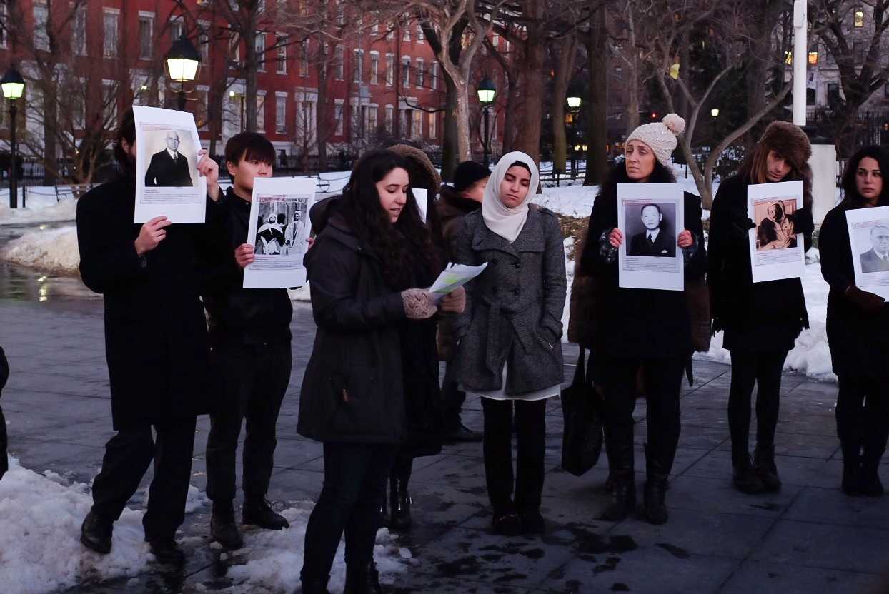 On January 27, 2015, the International Holocaust Day, a group of NYU students and professors held a ceremony under the Washington Square Park arch to commemorate people who risked their lives.