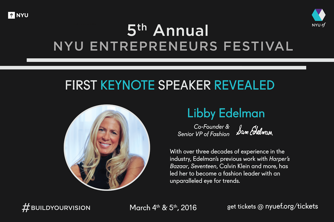 Libby Edelman is the first of three keynote speakers to be announced for the NYU Entrepreneurs Festival.