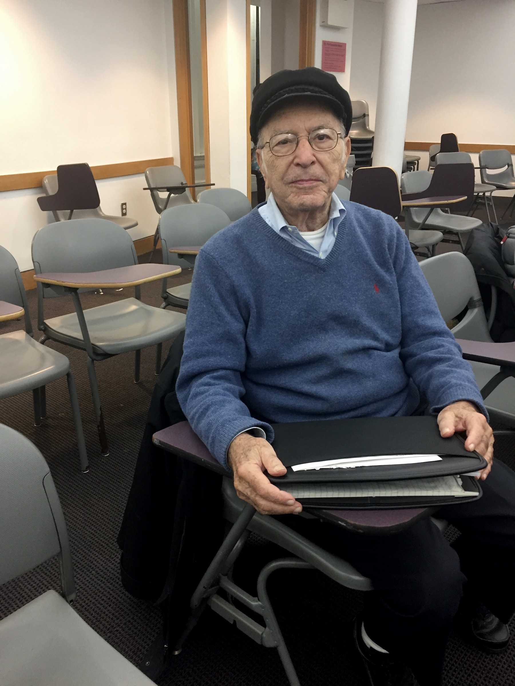 Richard Orin, 89, attends history class at NYU after graduating from NYU Law over 60 years ago.