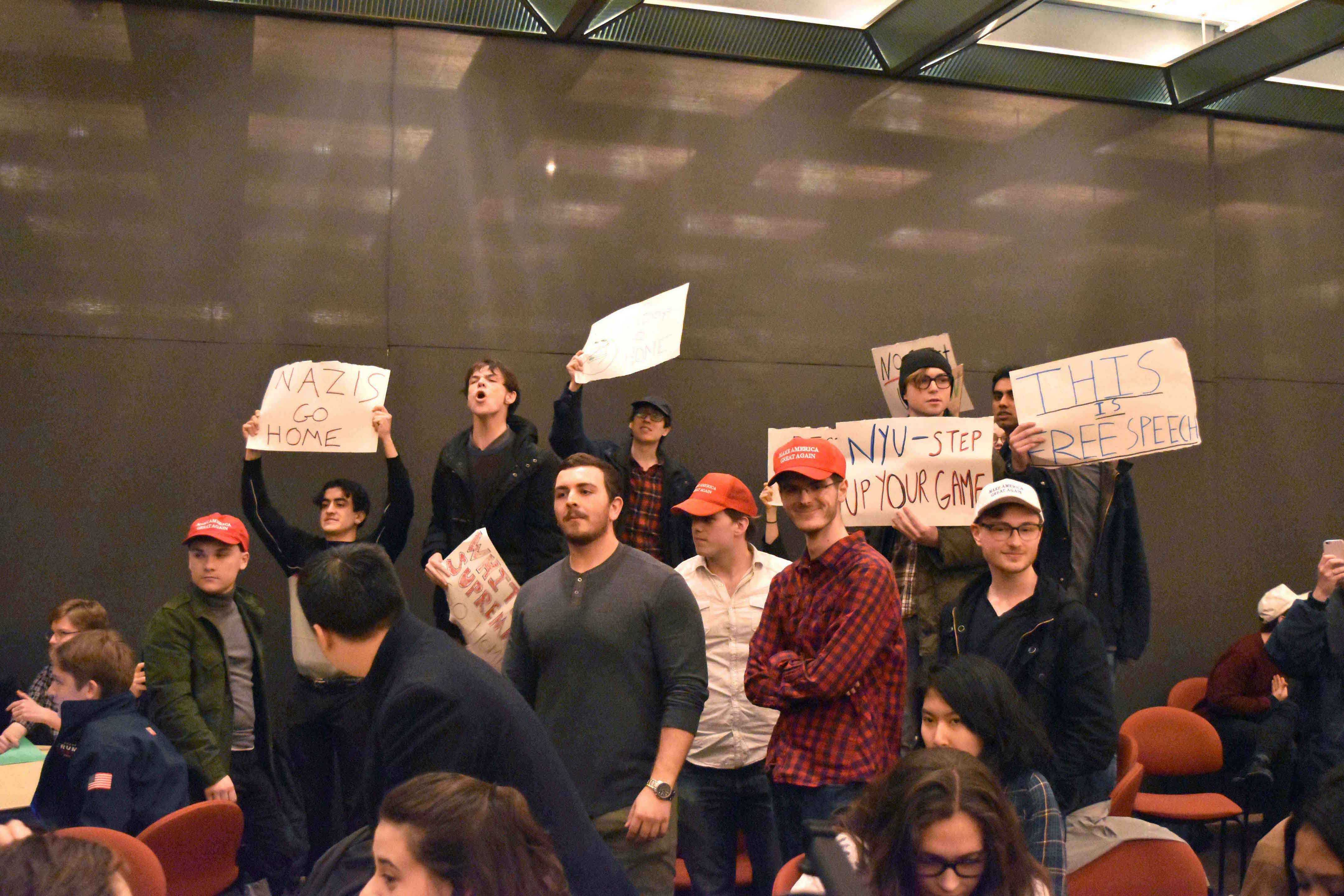 NYUCR members tried to block the protesters when Gavin McInnes spoke on Feb. 2, 2017. Since the NYUCR hosted the event, the club has increased in members.
