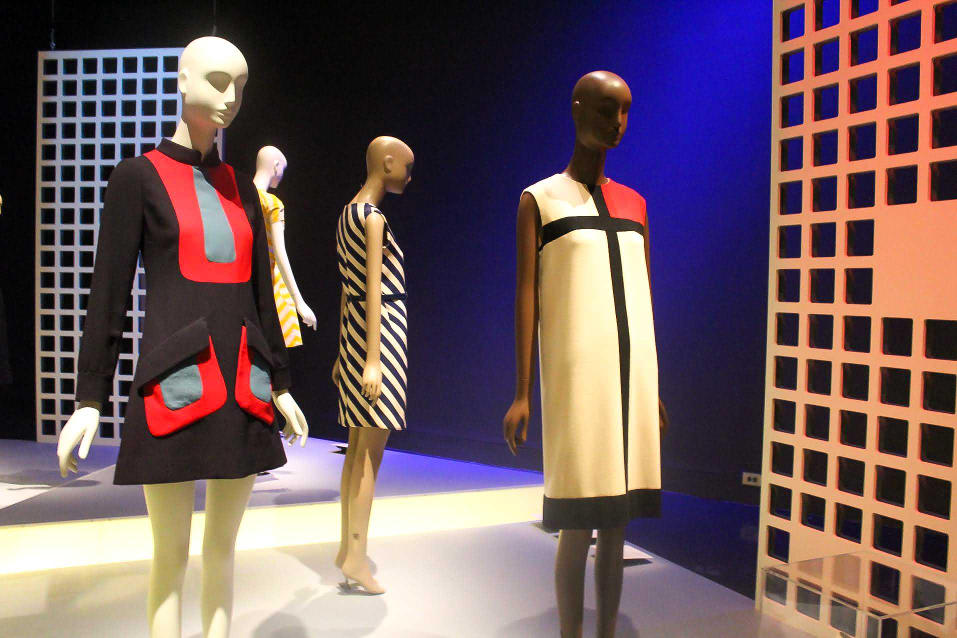 "Dresses from the Fashion Institute of Technology's exhibit ""Paris Refashioned (1957 - 1968)."" These garments pushed the boundaries of acceptable dress for women in the 1960s feminist movement."