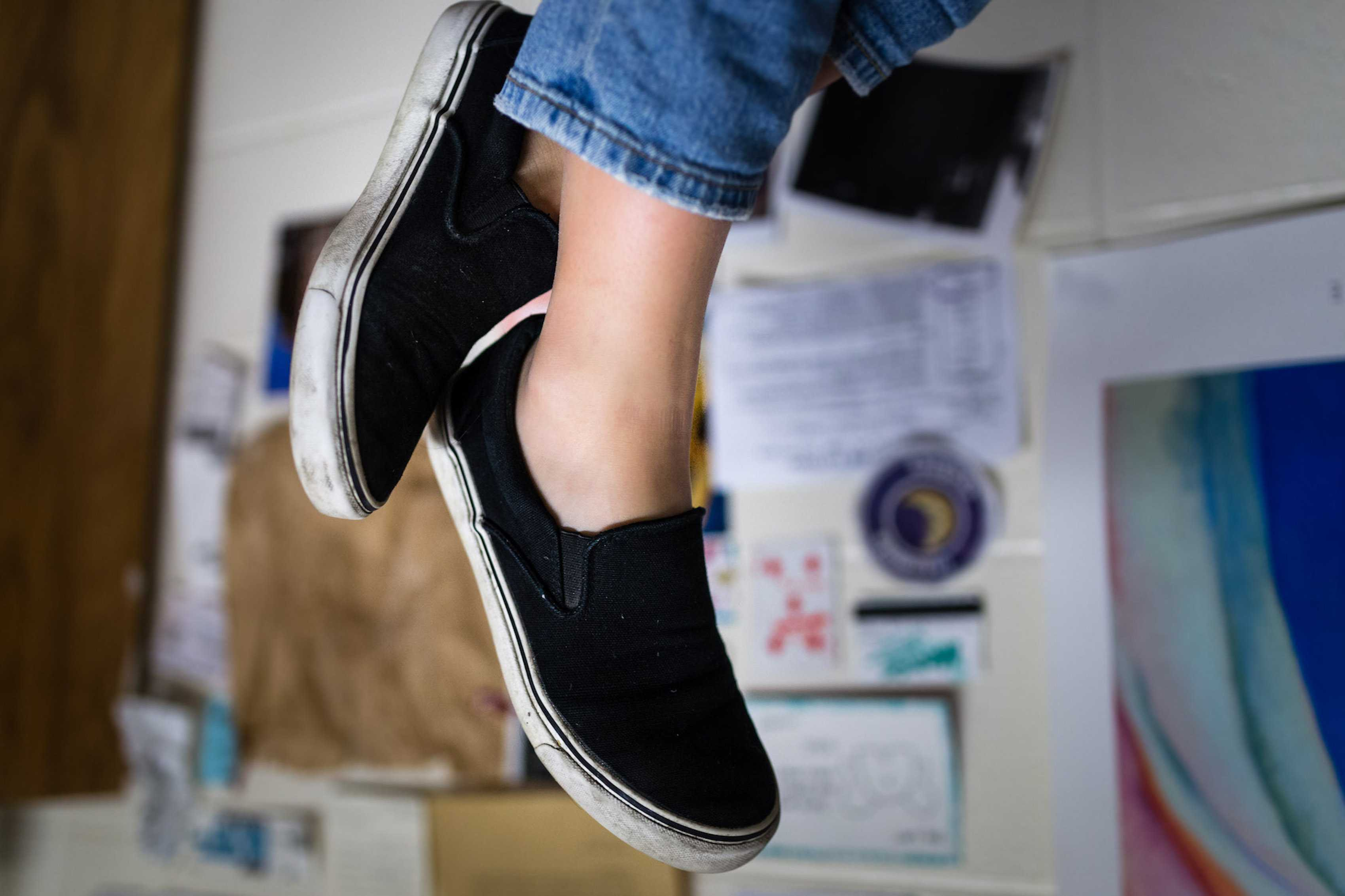 Black slip-ons are a good transition piece from the winter to spring. They can be styled in a variety of ways and can be worn comfortably everyday.