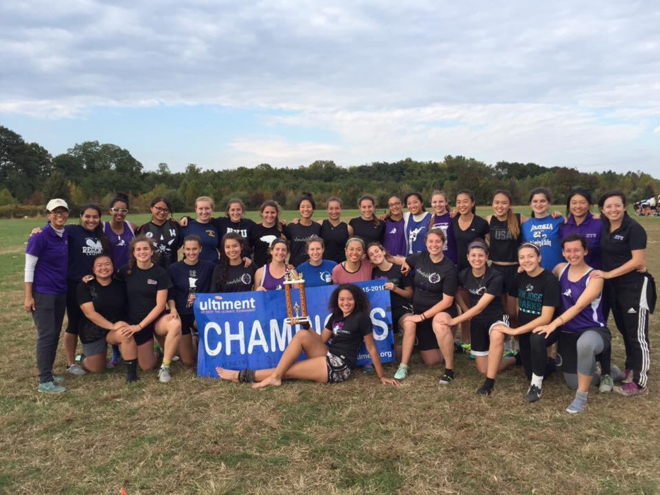 NYU's 2016 women's ultimate frisbee team. Ultimate frisbee is an often overlooked, complex and strategic sport enjoyed by a number of students at NYU.
