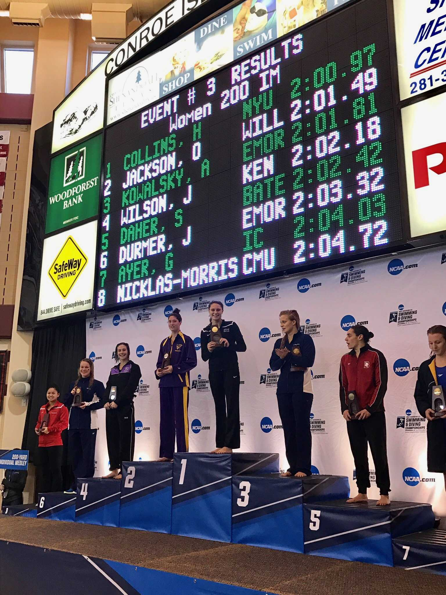 In March, freshman Honore Collins took home the very first national title for NYU swimming. Overall, the NYU women's swimming and diving team earned 8th place at the national tournament.