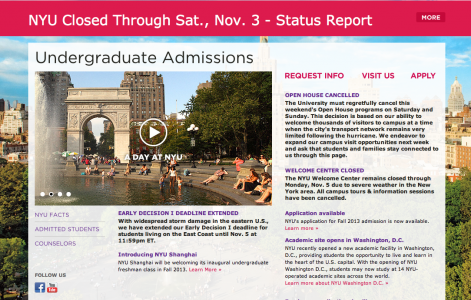 Screenshot from admissions.nyu.edu