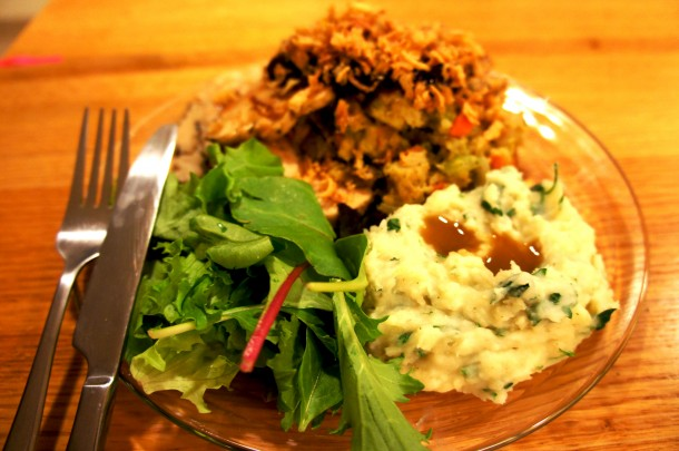 Easy recipe for open face Thanksgiving sandwich