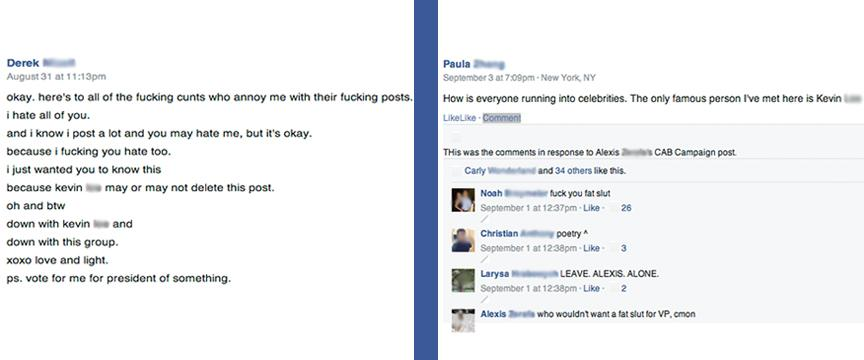 Screenshots+from+the+Facebook+group+indicate+vulgar+language+and+bullying.