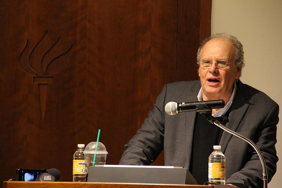 UCLA+historian+and+professor+Robert+Brenner+delivers+his+lecture+%E2%80%9CThe+U.S.+Economy+Today+and+Tomorrow%3A+Inequality%2C+Stagnation%2C+Crisis%E2%80%9D+at+Jurow+Lecture+Hall+in+Silver+Center+on+Tuesday.+