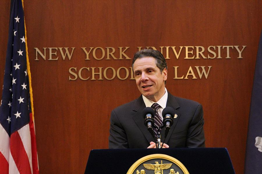 New+York+Gov.+Andrew+Cuomo+speaks+at+NYU+Law+about+his+plans+not+to+approve+the+2015+New+York+State+budget.+Cuomo+addressed+the+public%E2%80%99s+distrust+in+the+government+and+emphasized+transparency.