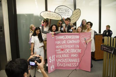 NYU Divest protests at Sexton's office