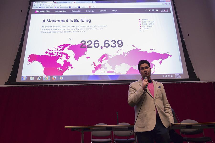 Gerardo+Porteny+Backal+talks+about+the+HeForShe+movement+in+GCASL+on+Monday.