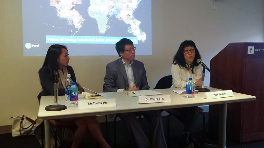 Terese+Yue+%28left%29%2C+Dr.+Michao+Jin+and+Professor+Eli+Kim+discuss+their+experiences+living+as+Asian-Americans+to+teach+the+next+generation.+