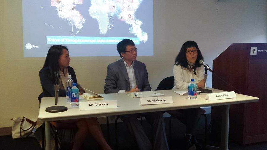 Terese Yue (left), Dr. Michao Jin and Professor Eli Kim discuss their experiences living as Asian-Americans to teach the next generation.