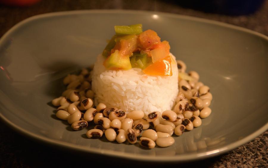 Preparing a typical RoshHashanah dish of Black-Eyed Peas.