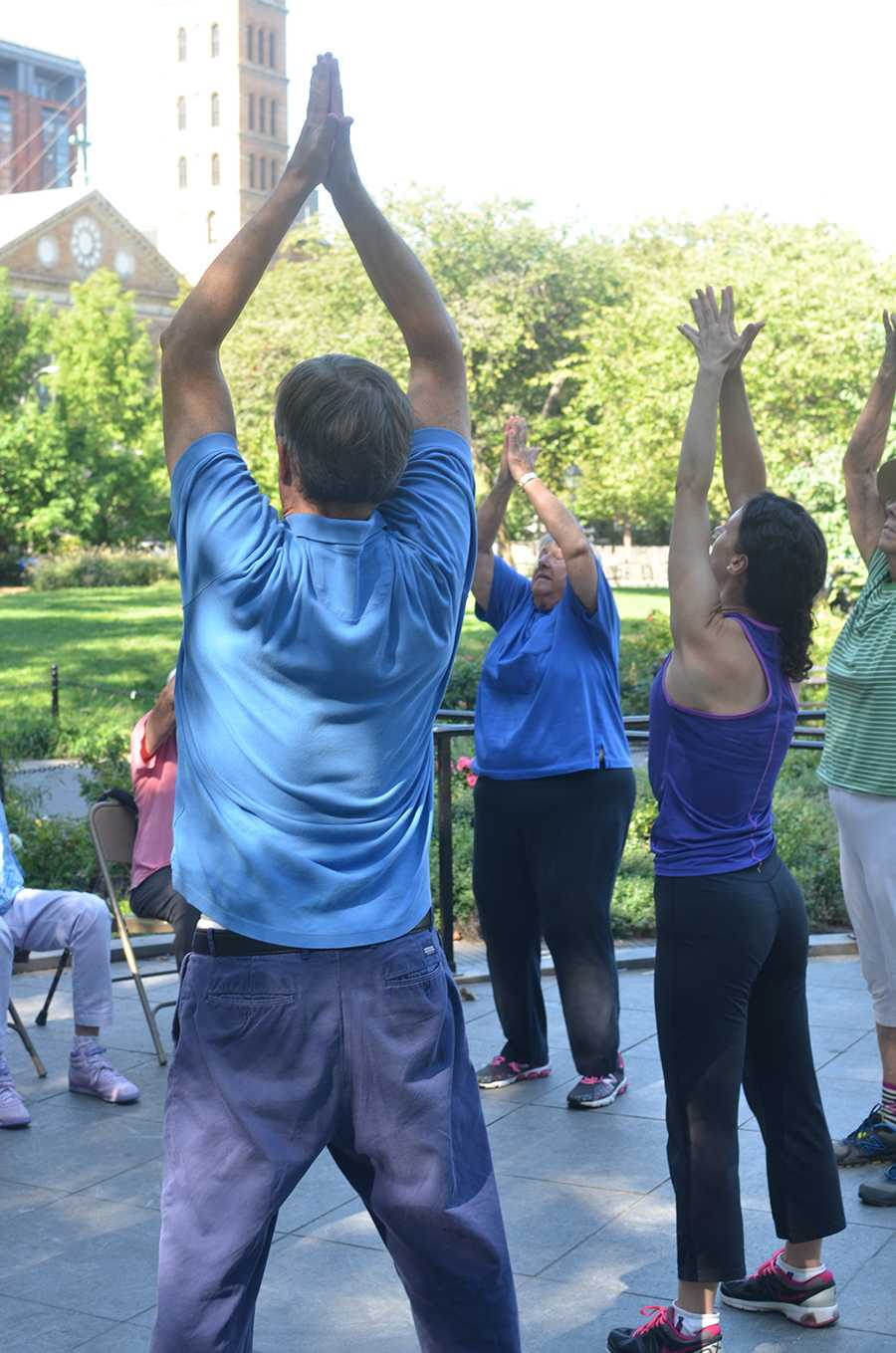 Free health classes are available in Washington Square Park.
