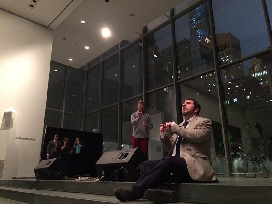 NYU+comedy+troupe+performs+at+MoMA%E2%80%99s+Pop+Rally+event.