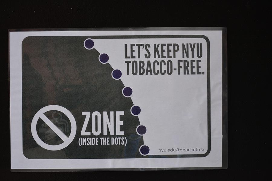 As part of the SSC's tobacco-free initiative purple dots have been painted outside of Weinstein and Bobst.