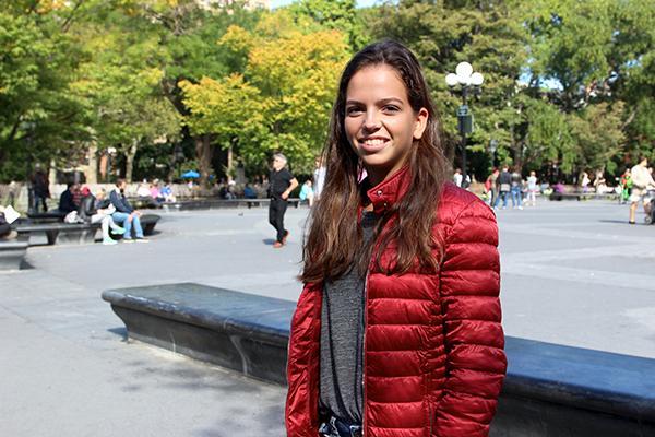 NYU Tennis player, Alice McGinty, is a freshmen from Barcelona, Spain.