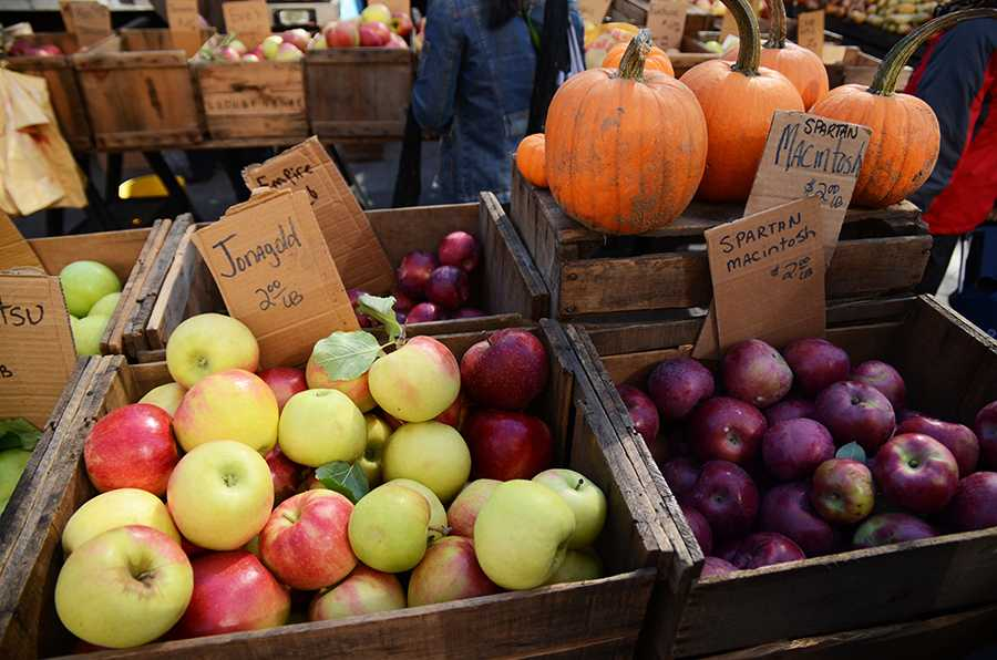 Every Saturday, the merchants at the Union Square Greenmarket sell a variety of apples and fresh produce. On October 24, the citywide Big Apple Crunch will take place here starting at 12 pm.