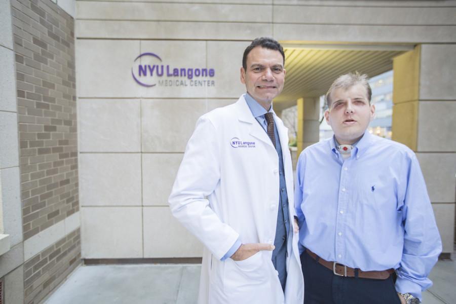 Dr.+Eduardo+D.+Rodriguez%2C+pictured+with+his+face+transplant+patient+Patrick+Hardison+at+NYU+Langone+on+November+12%2C+2015