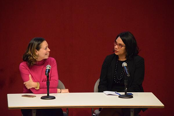 Panelists Shirley Leyro (left) and Isabel Martinez (right), from John Jay College of Criminal Justice, discuss immigration issues after screening of JR's new film Ellis starring Robert De Niro.