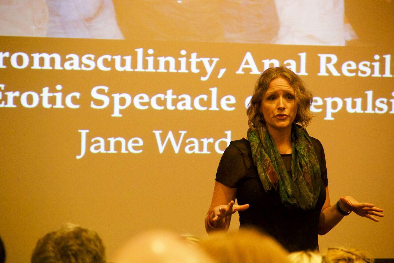 "In her presentation entitled ""White Heteromasculinity, Anal Resilience, and the Erotic Spectacle of Repulsion"", Jane Ward, author and explorer of gender at the University of California Riverside, shows a captive NYU audience provocative images of the white American heterosexual male's obsession with homoerotic acts."