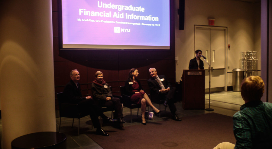 From+left+to+right%2C+panelists+Owen+Moore%2C+Alison+Leary%2C+MJ+Knoll+Finn+and+Martin+Dorph+discuss+the+issues+students+have+with+the+high+expenses+of+NYU.+