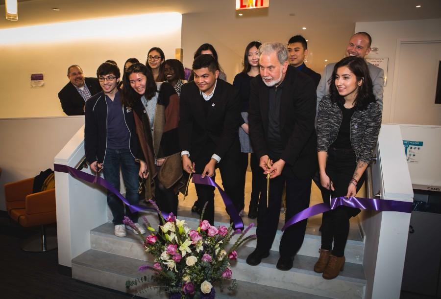 John+Sexton+along+with+members+of+the+Commuter+Student+Council+cut+the+ribbon+to+Hayden+Hall%27s+new+commuter+den.+