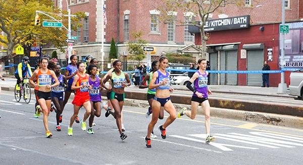 Runners looking determined in the TCS New York City Marathon on the 1st of November, 2015.