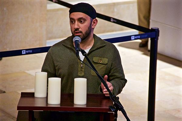 Spiritual leaders and student representatives spoke at the entrance of Kimmel on Tuesday November 17 to commemorate victims of the past week's tragedies including the Paris attacks, Beirut bombings, and Baghdad incident.