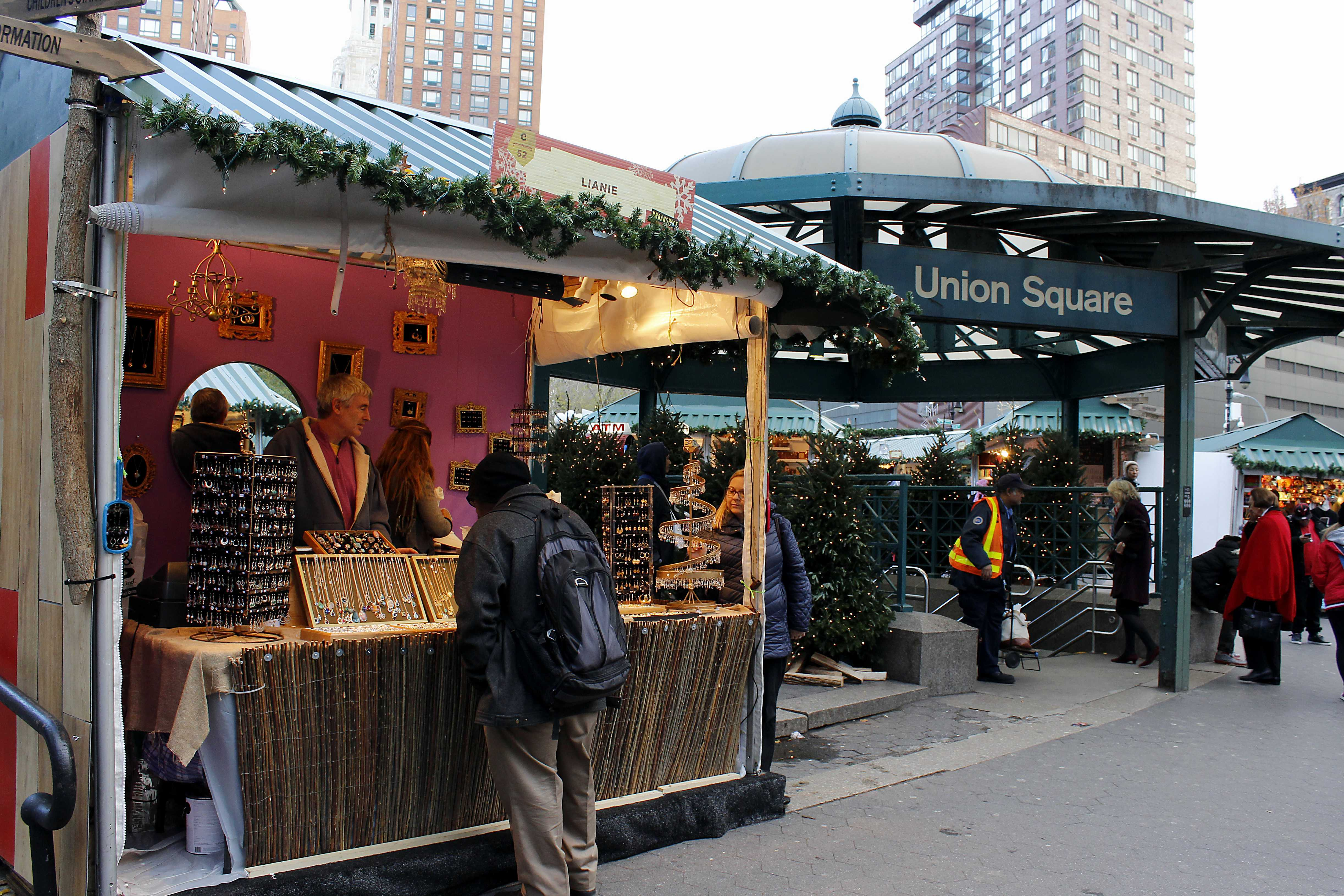The Union Square Holiday Market features a wide variety of vendors selling jewelry, cosmetics and other beauty products.