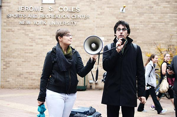 Andrew Ross, a NYU professor and member of Faculty Against the Sexton Plan (FASP), speaks about the Coles closure and its impact on student jobs to a crowd gathered at the NYU Walk of Shame on Wednesday, December 2.