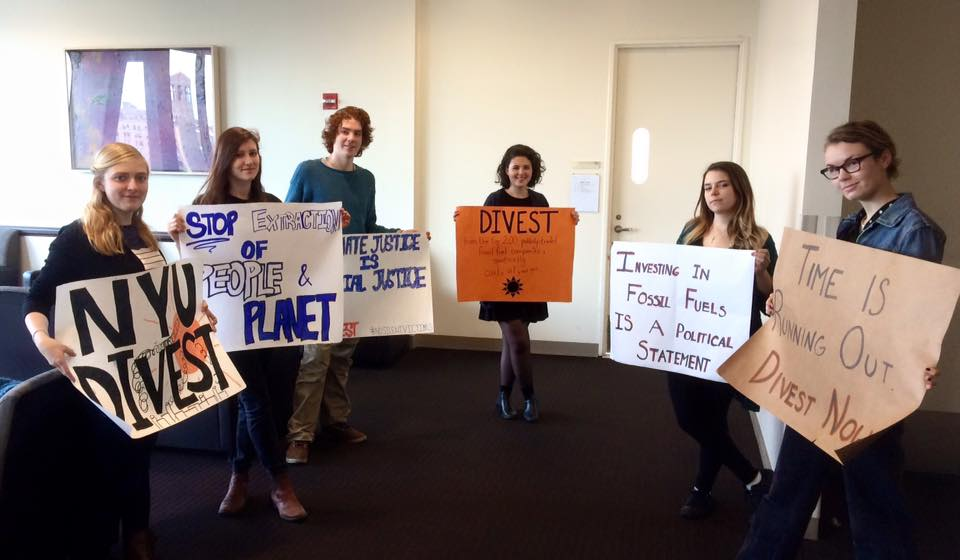 Members NYU Divest met with NYU's Board of Trustees Subcommittee to discuss fossil fuels.