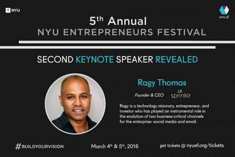 Ragy Thomas Named as Second Keynote Speaker for Entrepreneurs Festival