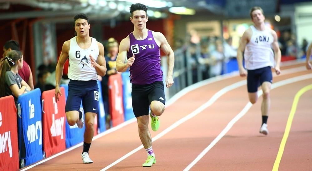 Men's track and field competed in Boston at Boston University's Valentine's Invitational.