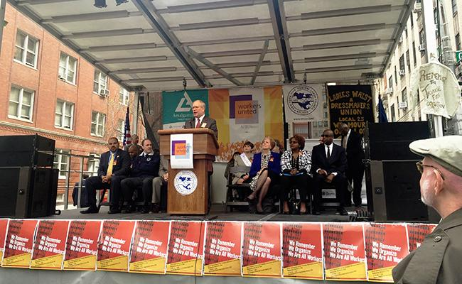 The+105th+anniversary+of+the+Triangle+Shirtwaist+Factory+was+commemorated+outside+of+the+Brown+Building.