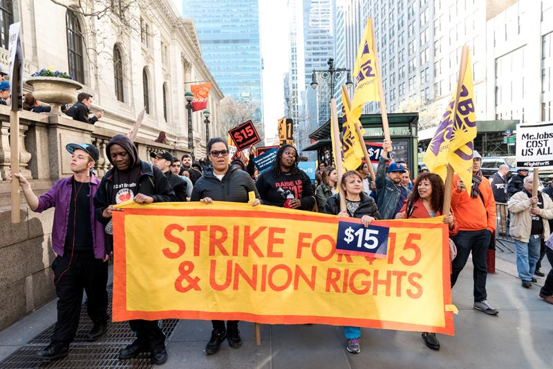 The+Fight+for+%2415+continues+with+a+rally+through+Times+Square+and+an+appearance+from+Governor+Andrew+Cuomo.