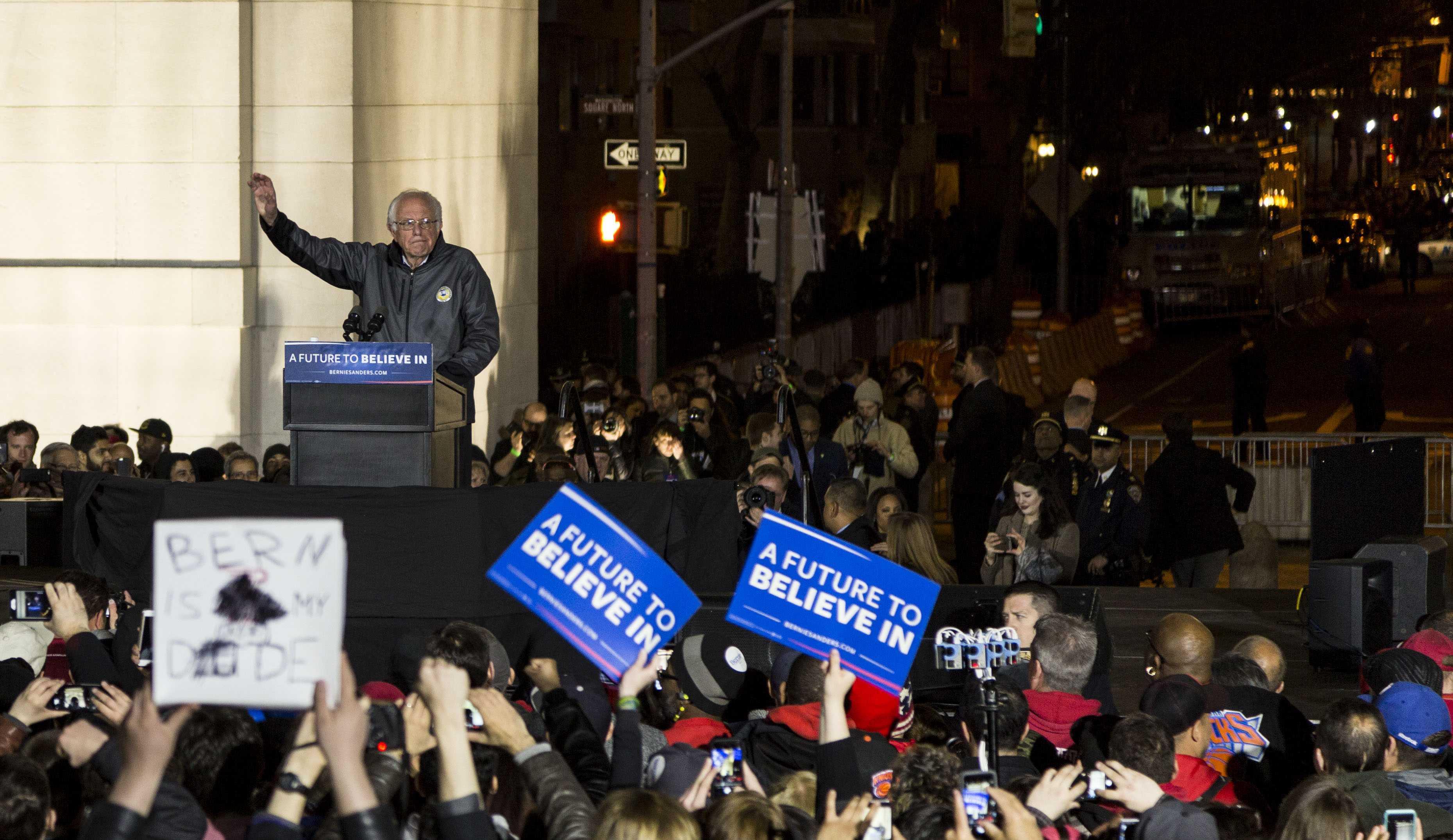 Senator Bernie Sanders spoke for 90 minutes at the rally last Wednesday in Washington Square Park.
