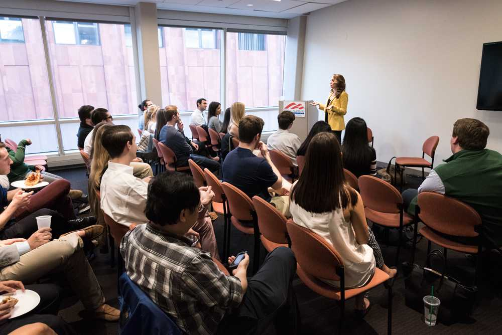 Jedediah Bila held a town hall event with college republicans at NYU on April 21.