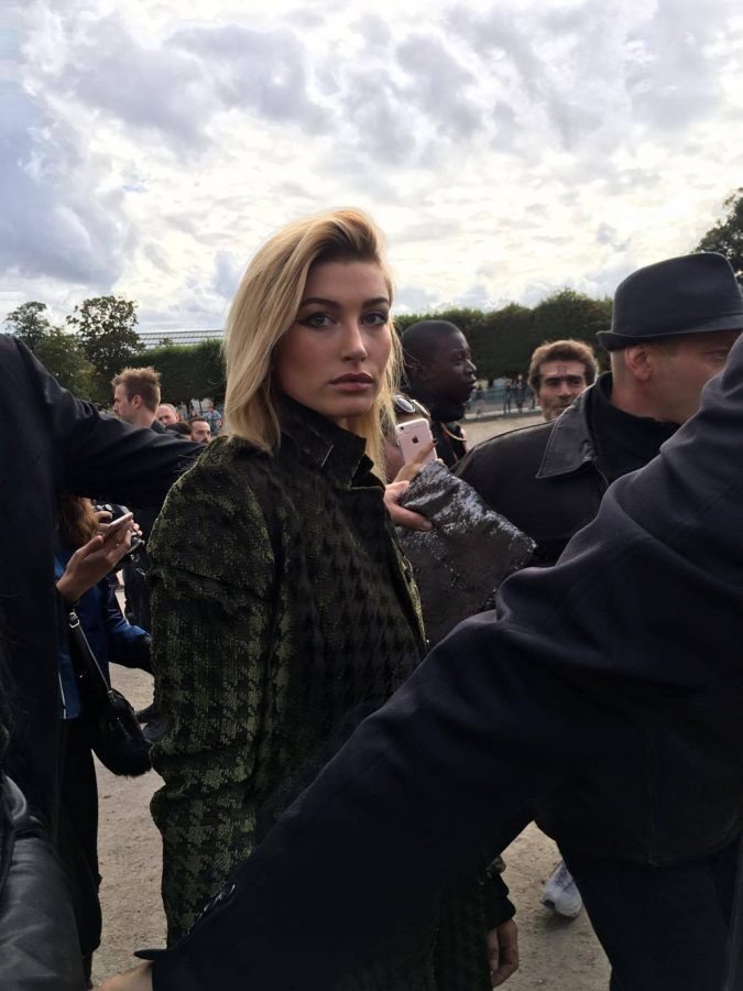 Hailey+Baldwin+was+one+of+many+spotted+at+Fashion+Week+in+Paris.