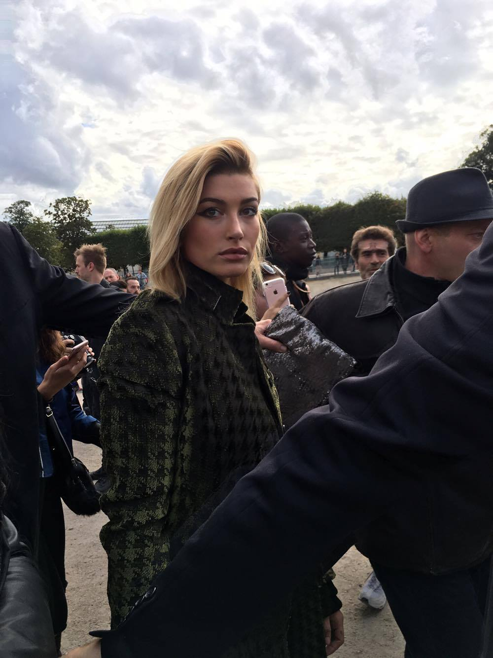 Hailey Baldwin was one of many spotted at Fashion Week in Paris.