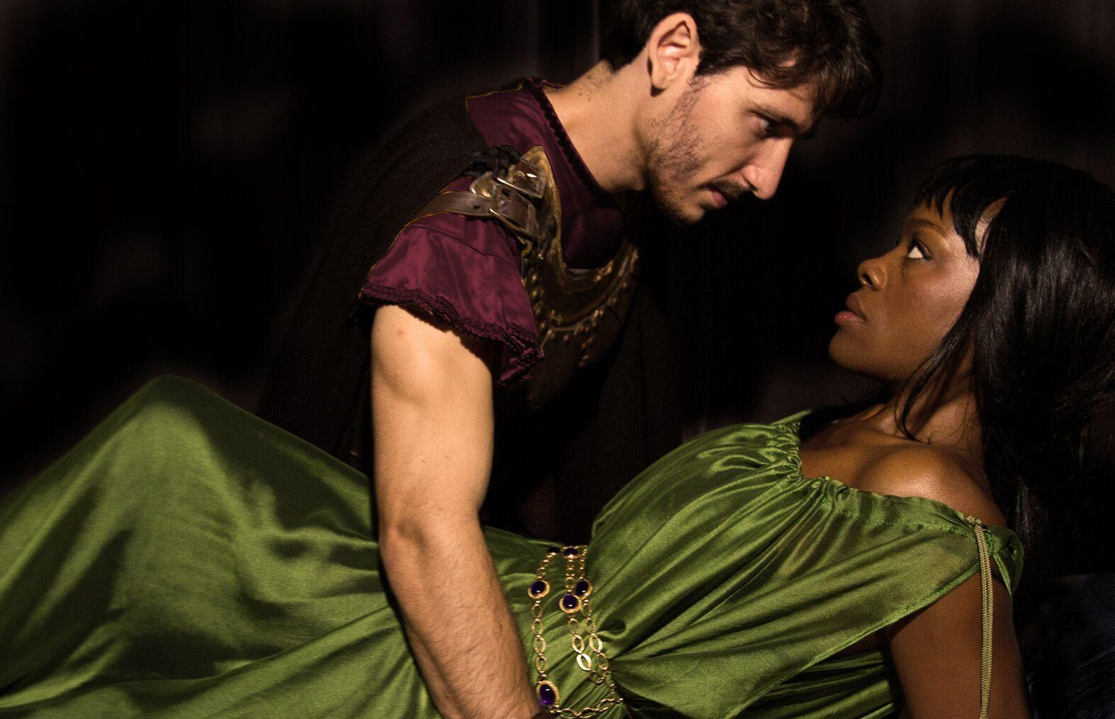 Aaliyah Habeeb and Leighton Samuels portray the Romans Lucrece and Sextus Tarquinius in the New York Shakespeare Exchange's heart-wrenching performance of this Shakespearean classic.