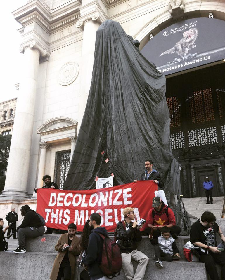 "Activists from NYC Stands with Standing Rock marched through the Museum of Natural History in what they called ""Decolonize This Museum"" as a performative protest against the South Dakota pipeline."