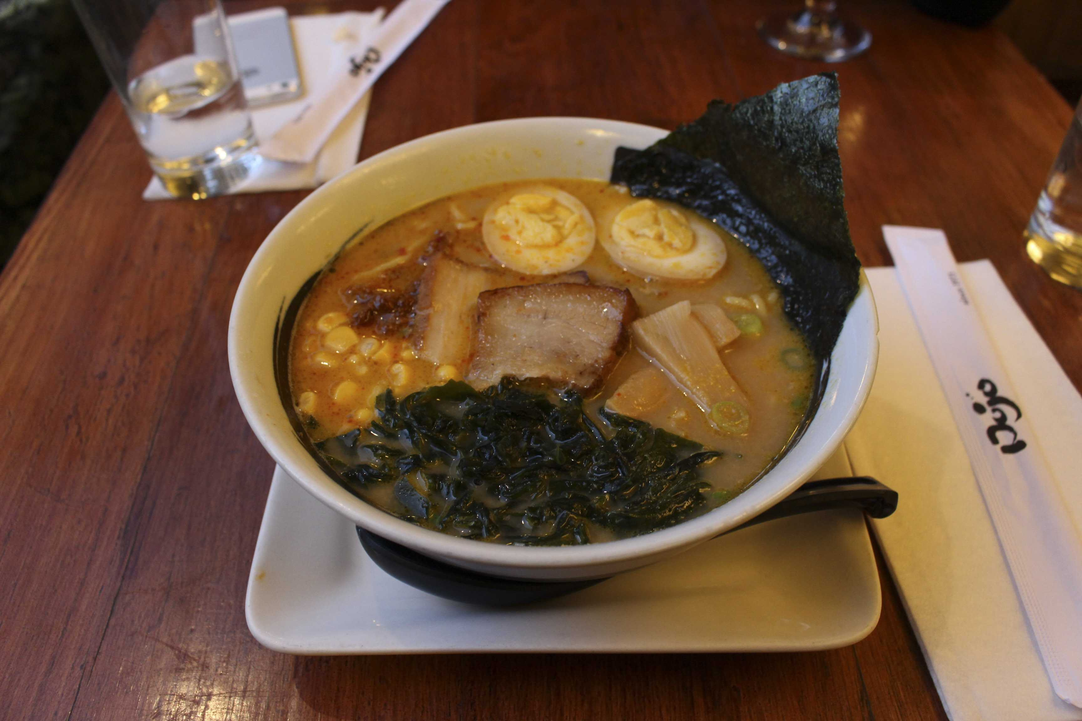 For only $13, the miso ramen at Dojo includes corn, scallions, seaweed, bamboo shoots, an egg, pork belly, and enough noodles to fill anyone up.