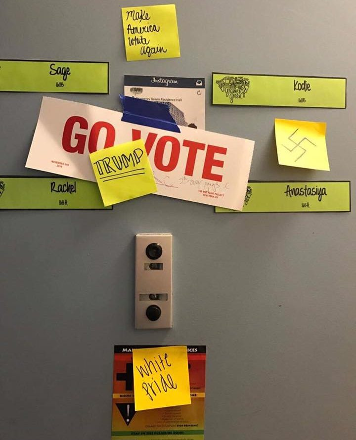 The post-it notes covering Anastasiya Muravyeva's  door on Nov. 17 displayed rhetoric commonly employed by white nationalists, like