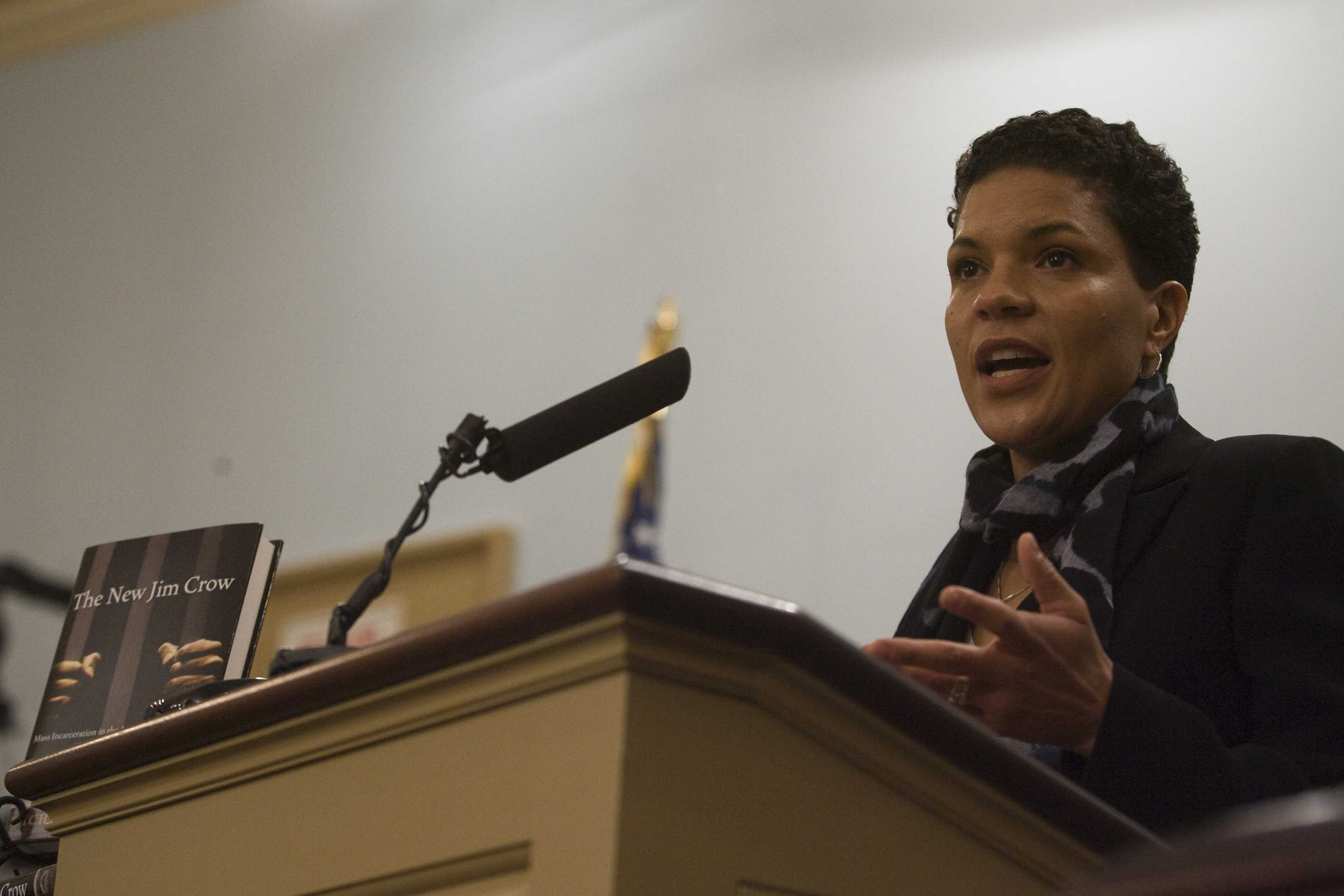 Michelle Alexander speaking at the Miller Center Forum on Dec. 3, 2011. Alexander, the author of