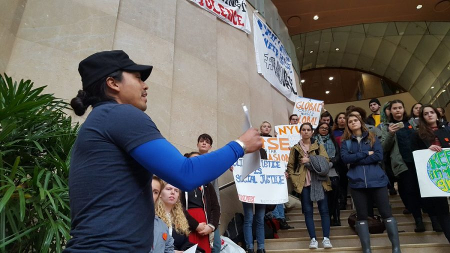 Students+stood+on+the+steps+of+Kimmel+on+Tuesday+to+show+their+support+for+the+No+Dakota+Access+Pipeline+Movement.